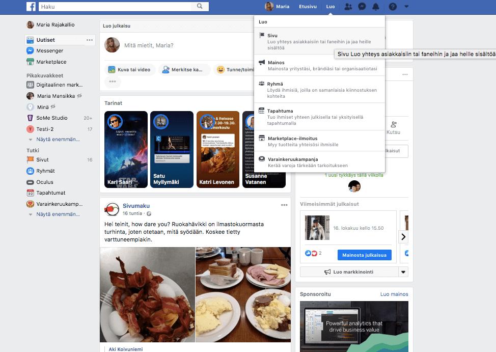 Kuvakaappaus, jossa näytetään mistä pääsee luomaan Facebook-sivun.