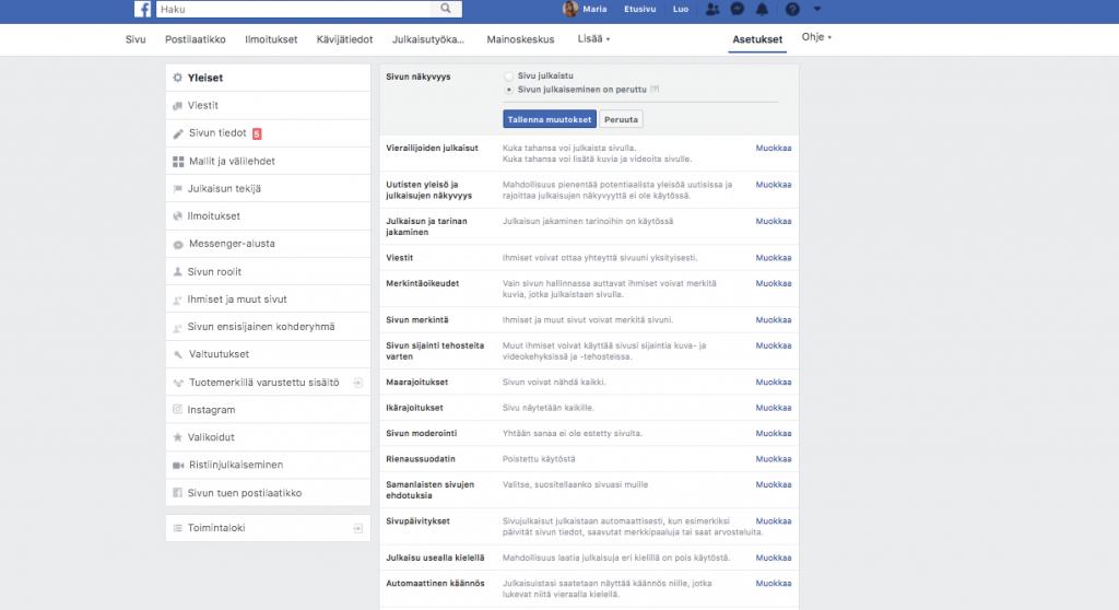 Kuvakaappaus, jossa näytetään, mistä kohdin voi perua Facebook-sivun julkaisun