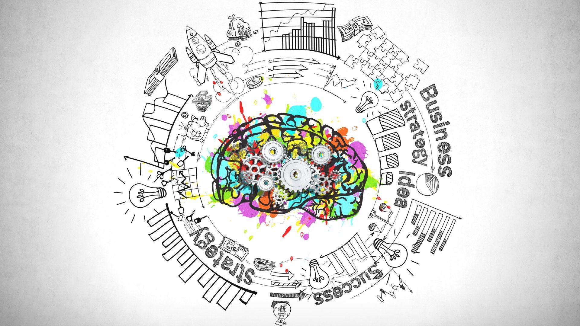 Kuvituskuva, jossa piirretyt aivot ja ratakset raksuttamassa.